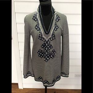 Tory Burch Striped Embroidered Tunic